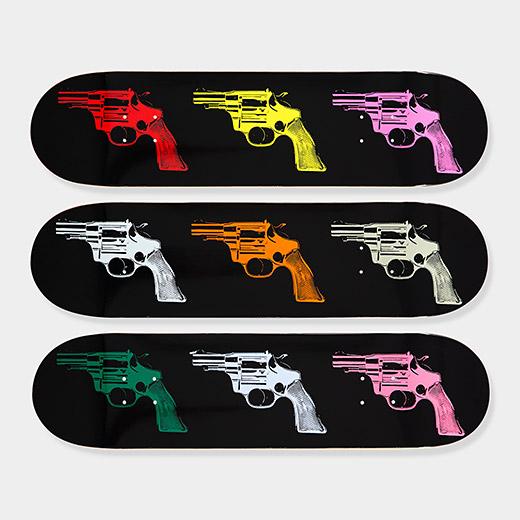 Andy_Warhol_Skateboard_Triptych_Guns